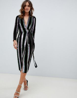 ASOS DESIGN wrap midi dress in velvet stripe sequin