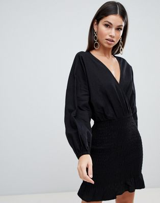 Image 1 of ASOS DESIGN wrap mini dress with shirred skirt