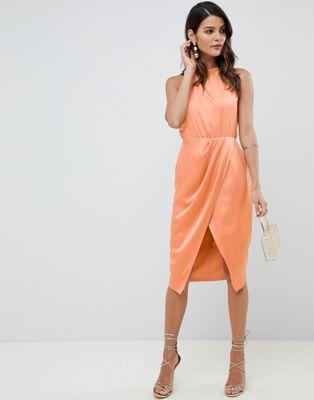 ASOS DESIGN wrap skirt midi dress in satin
