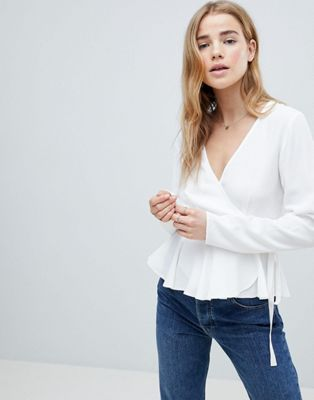 ASOS DESIGN Wrap Top With Pephem
