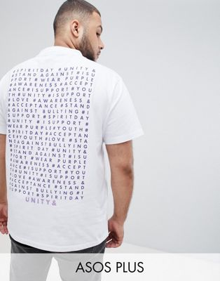 ASOS DESIGN X glaad& Spirit Day plus t-shirt with back print