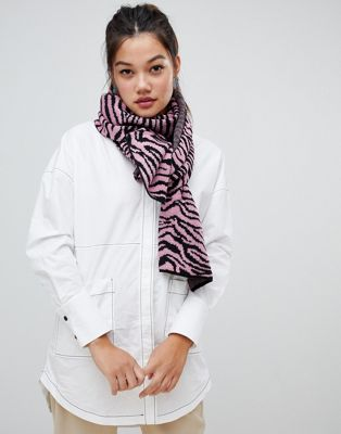 ASOS DESIGN zebra print knitted scarf