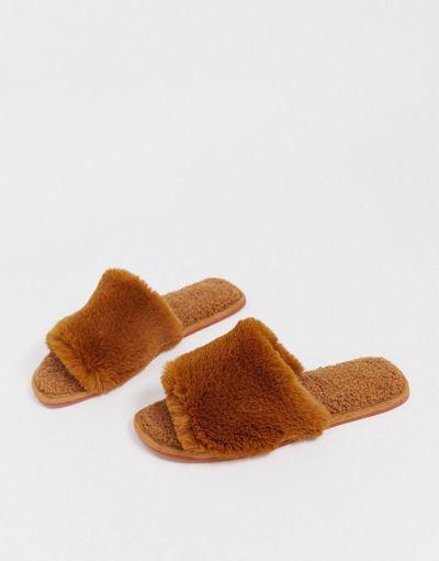 ASOS DESIGN Zen borg fur slippers in conker brown