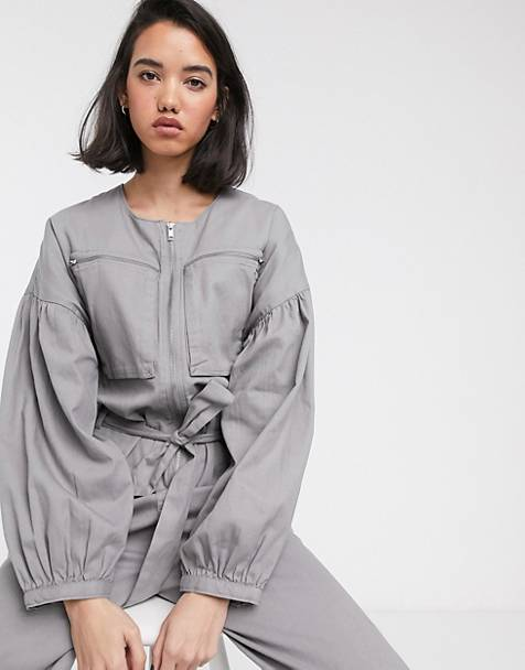 ASOS DESIGN zip front boiler jumpsuit with slouchy puff sleeve