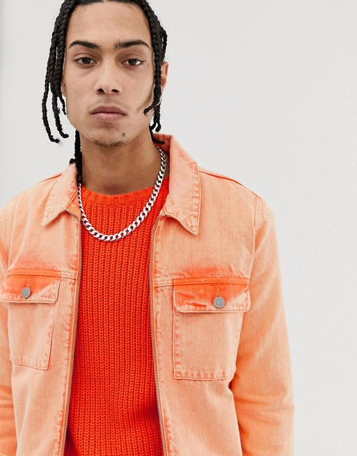 Image 1 of ASOS DESIGN zip through denim jacket in neon orange