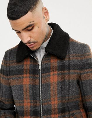 ASOS DESIGN zip through jacket in grey check