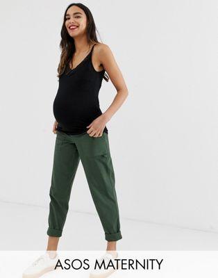 ASOS DESIGN - Zwangerschapskleding - Combat broek met smalle pijpen in kaki