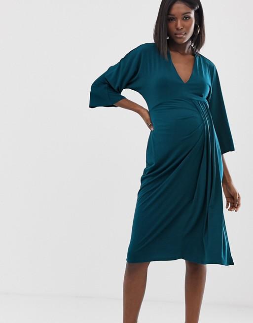Exclusieve Zwangerschapskleding.Asos Design Zwangerschapskleding Exclusieve Midi Jurk Met