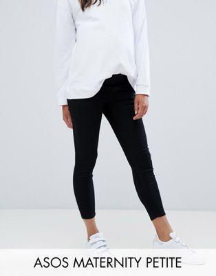 ASOS DESIGN Zwangerschapskleding - PETITE - RIDLEY - Skinny jeans met onder de buik vallende tailleband in zwart