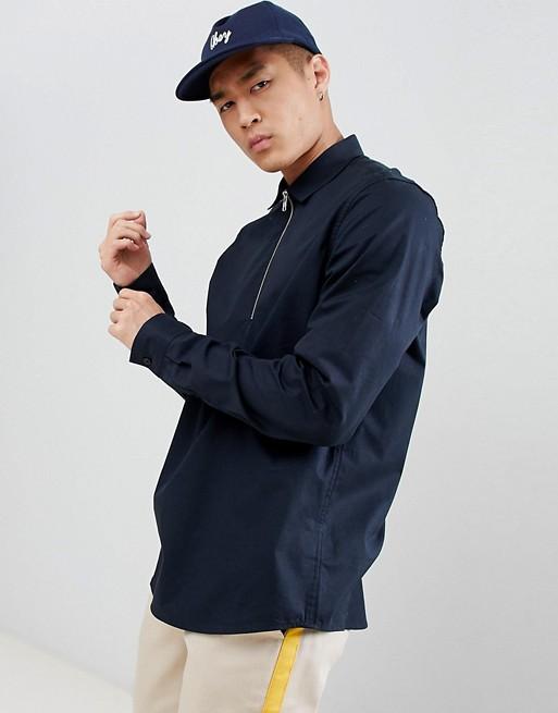 ASOS DESIGN - Zwart regular-fit overhemd met stretch, korte rits en zonder sluiting