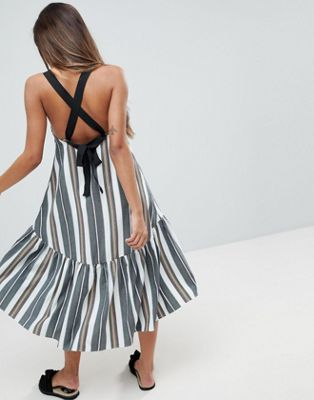 ASOS Drop Hem Midi Trapeze Sundress in Stripe
