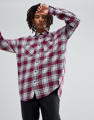 ASOS Drop Shoulder Oversized Longline Check Shirt With Bleach Wash