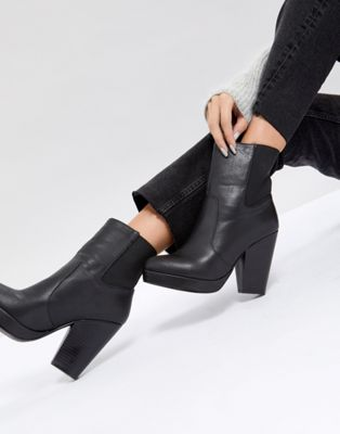 ASOS EARTHLING High Ankle Boots in Water Based PU