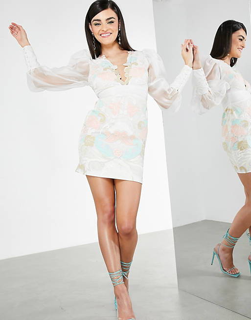 ASOS EDITION applique embroidered pastel organza mini dress