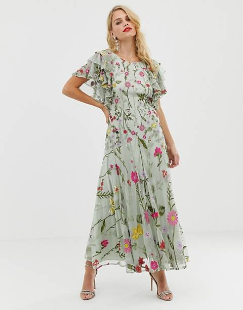 ASOS EDITION bloombox midaxi dress with frill sleeve