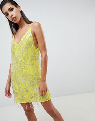 ASOS EDITION cami embellished fringe mini dress