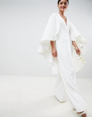ASOS EDITION Cape Wedding Jumpsuit