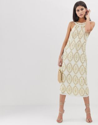 ASOS EDITION crystal and sequin halter midi dress