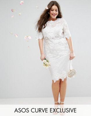ASOS EDITION Curve – Hochzeitskleid in Midilänge mit Spitzenstickerei