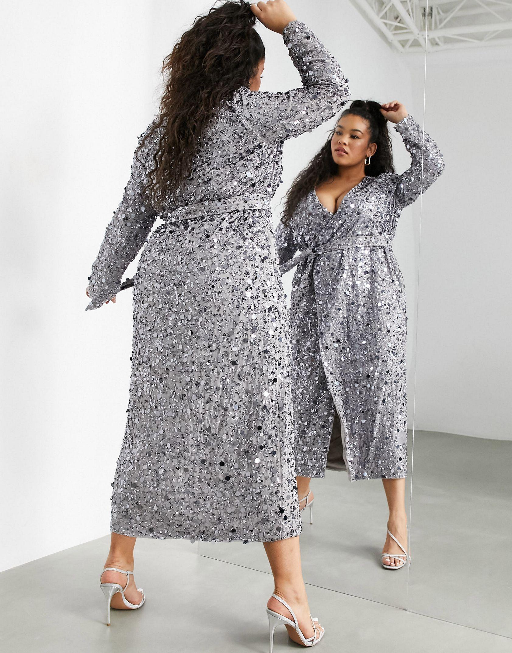 ASOS EDITION Curve wrap midi dress in disc sequin in silver -  Price Checker