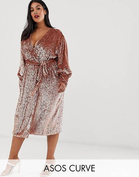 0a50823cf131 ASOS EDITION Curve sequin wrap midi dress