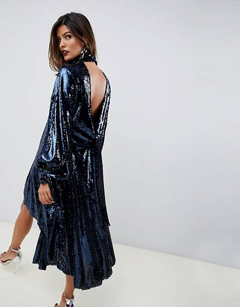 ASOS EDITION drape sequin midi dress with open back
