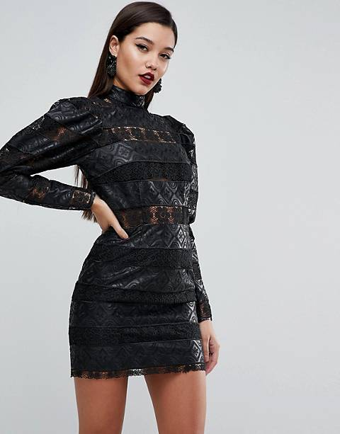 ASOS EDITION Embossed PU and Lace Cocktail Mini Dress