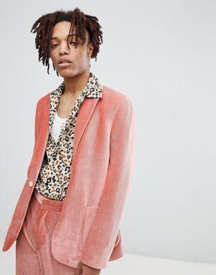 ASOS EDITION – Eng geschnittene Anzugsjacke aus plissiertem Samt, in Rosa