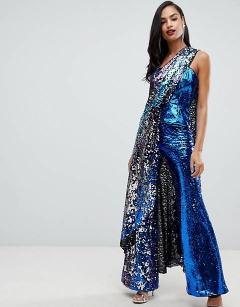 ASOS EDITION extreme drape bandeau top in ombre sequin
