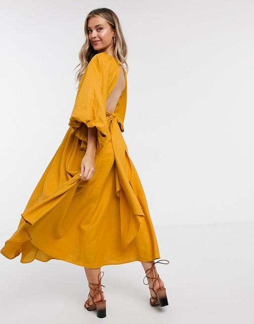 ASOS EDITION extreme sleeve linen midi dress in mustard