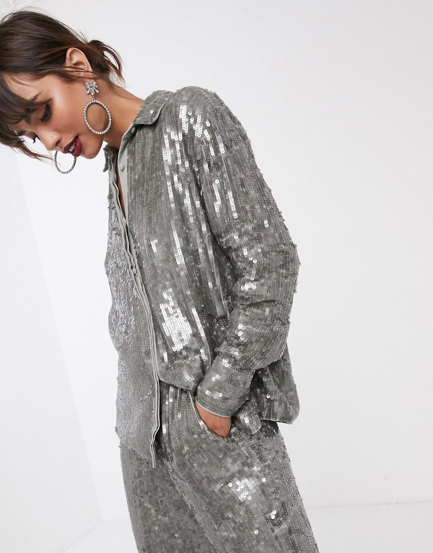 ASOS EDITION – Hemd mit Pailletten-Grau | Bekleidung > Blusen > Hemdblusen | ASOS EDITION