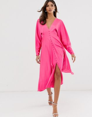 Image 1 of ASOS EDITION lattice back midi dress in satin