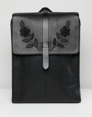 Image 1 of ASOS EDITION leather backpack in black with embellishment