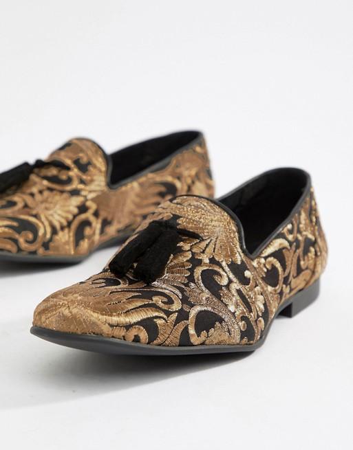 schwarz mit Jacquardmuster ASOS floralem Loafer EDITION wOqnA8a