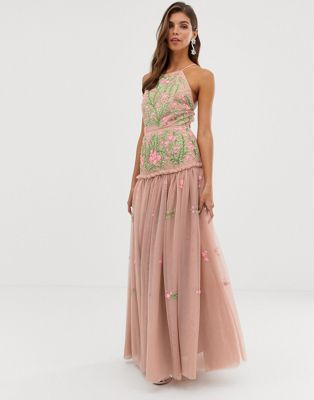 ASOS EDITION meadow floral embroidered & sequin maxi dress with open back