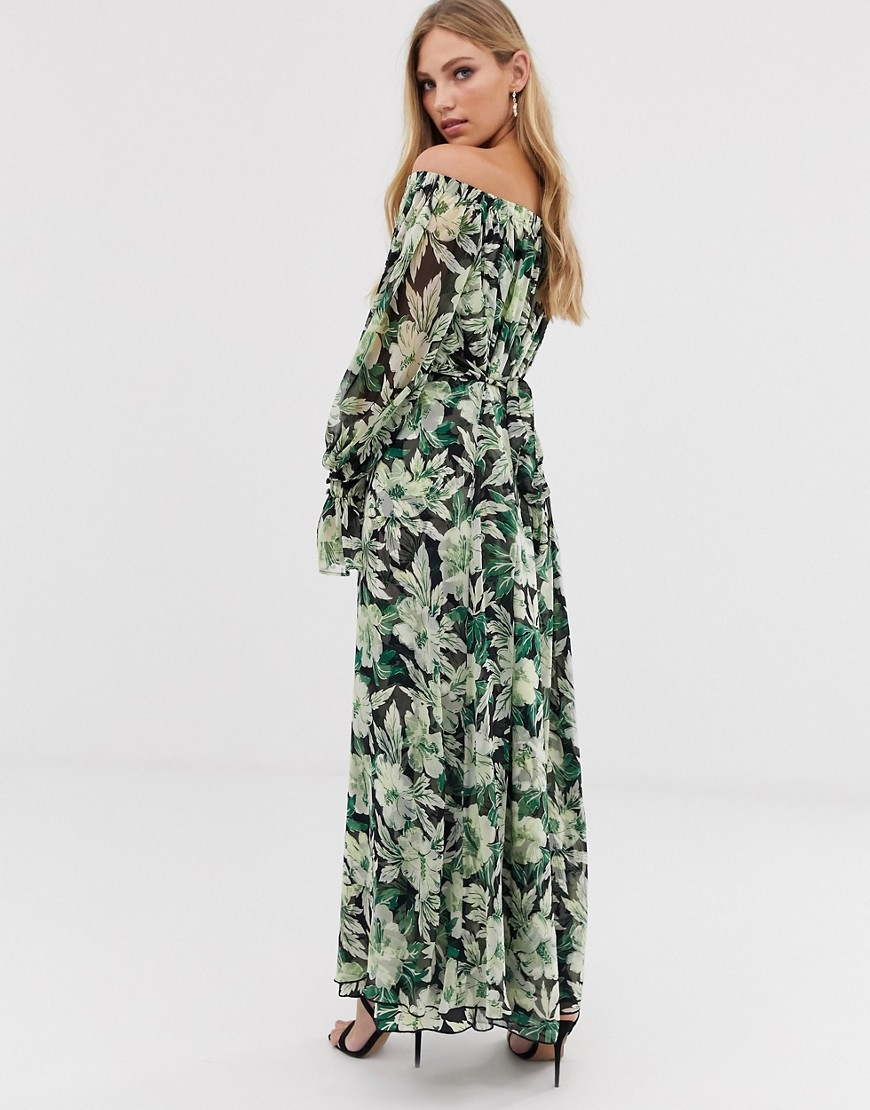 asos edition off shoulder printed trapeze maxi dress-multi