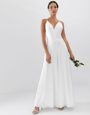 Image 1 of ASOS EDITION plunge cami wide leg wedding jumpsuit in satin