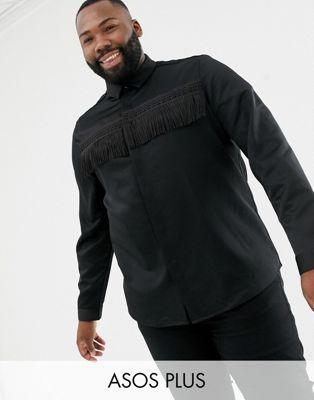 ASOS EDITION Plus - Camicia in raso con frange vestibilità classica