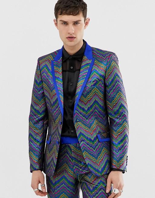 ASOS EDITION slim tuxedo jacket in multi colored zig zag jacquard