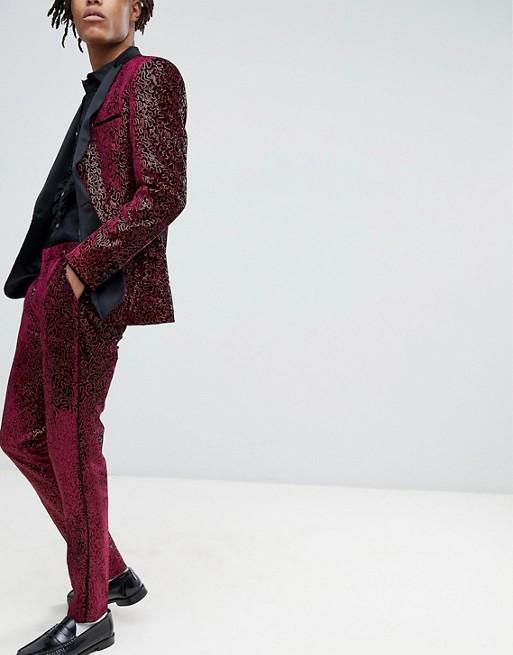 Bild 1 av ASOS EDITION – Smocking kostymbyxor i extra smal passform och heltäckande vinröda paljetter