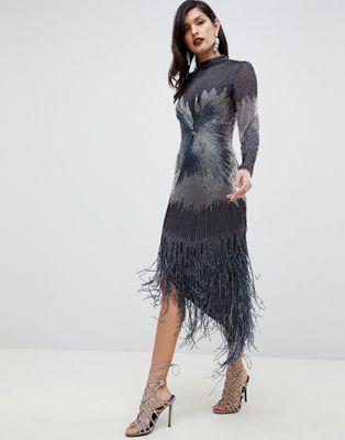 ASOS EDITION - Starburst - Midi-jurk met franje