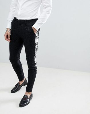 ASOS EDITION super skinny suit pants in black with contract palm tree tuxedo stripe