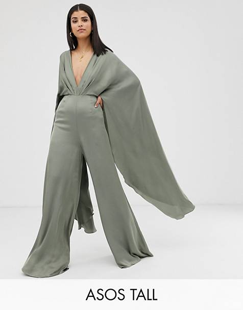 ASOS EDITION Tall cape sleeve jumpsuit in satin