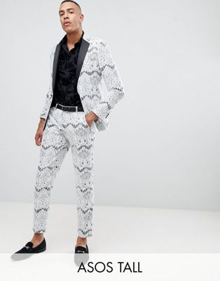 ASOS EDITION Tall skinny tuxedo suit jacket in white lace