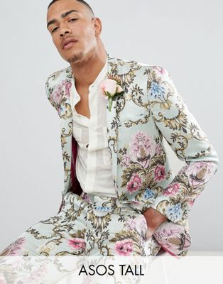 ASOS EDITION Tall wedding skinny suit jacket in pastel floral jaquard