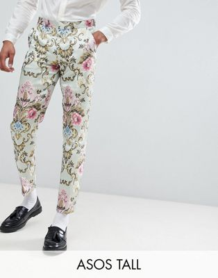ASOS EDITION Tall wedding skinny suit trousers in pastel floral jacquard