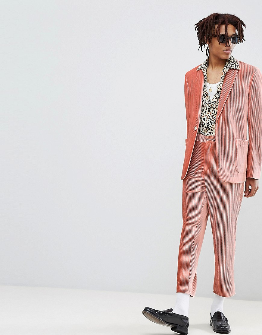 Asos Edition Tapered Suit Pants In Pink Velvet Plisse Fabric With Patch Pockets by Asos Edition
