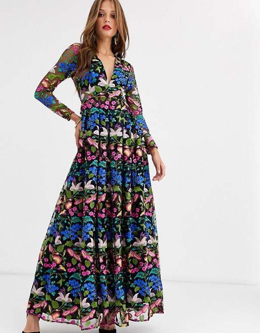 ASOS EDITION v neck embroidered maxi dress