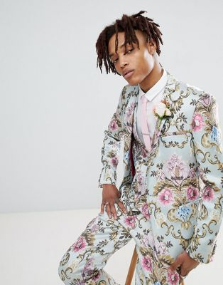 ASOS EDITION wedding skinny suit jacket in pastel floral jaquard