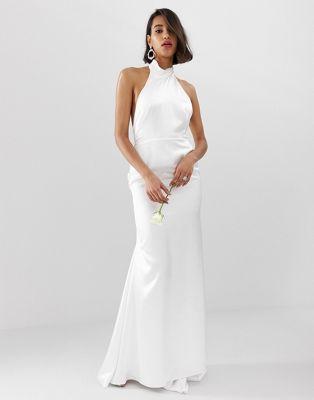 ASOS EDITION Wedding - Vestito lungo allacciato al collo con schiena scoperta